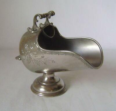 Antique Ornate Silver Plated Sugar Bowl: Coal Scuttle Shaped:  EPBM