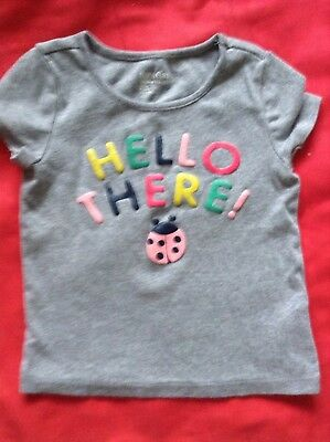 Girls Baby Girl Summer Top Shirt Short Sleeve Grey Age 2 years