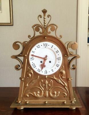 Very Unusual Iron/Steel 19th Century 8-Day Gothic Reliquary Clock - Working
