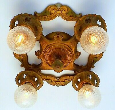 Antique Art Nouveau Deco 4 Light Flush Mount Ceiling Fixture Chandelier ORIGINAL