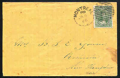 Canada Cross Border Montreal - N.H. USA by 12½¢ Green Packet Postage #18 1866