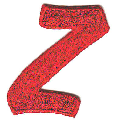"""LETTERS - Red Script  2"""" Letter """"Z"""" - Iron On Embroidered Applique"""