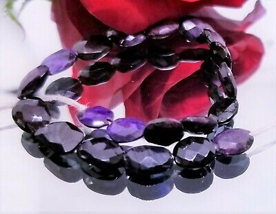 RARE NATURAL FACETED PURPLE AFRICAN SUGILITE NUGGET BEADS 8-9mm 32.5cts 6.5""