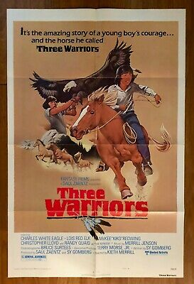 1977 3 Warriors Movie Lobby Poster Native Actors-White Eagle-Red Elk-Redwing #2