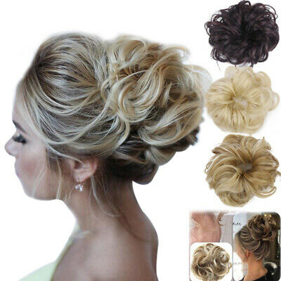 UK Real Natural Curly Messy Bun Hair Piece Scrunchie Hair Extensions as Human