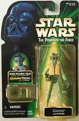 Star Wars Power of the Force 2 Greedo with Blaster Commtech Mint on Card