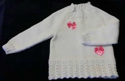 Beautiful Hand Knitted  White Jumper Trimmed With Pink Bows Size  2 (SPECIAL)