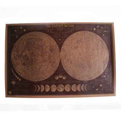 Map of the Earth's Moon Poster Lunar Cycle 70x44cm Retro National Geographic