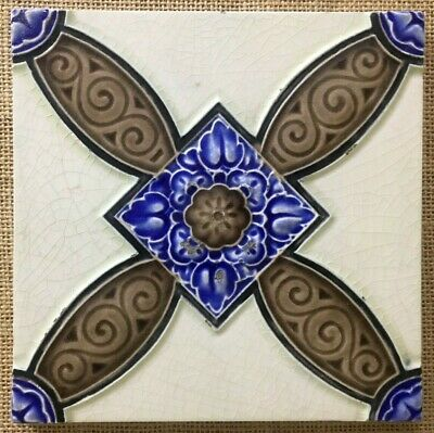 Antique rare art vintage England nouveau border collectible tile majolica c1900