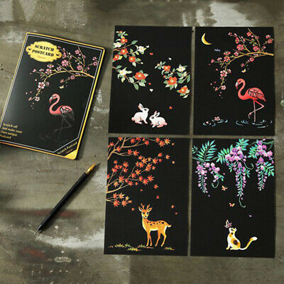 Scratch Scraping Book Art Magic Painting Paper Drawing Stick Kid Adult Toy