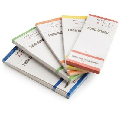 100 x Food Order Pads Numbered 1-100 Coloured Bar Restaurant Waiter Book Pads