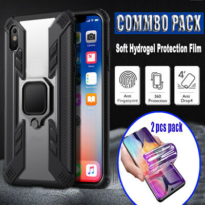 Samsung A20 A30 50 Heavy Duty Armor Case Car Metal Ring Holder Stand Soft Cover