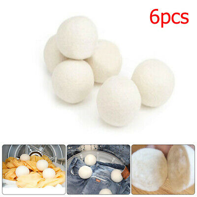 6pcs Reusable Natural Sheep Wool Dryer Balls Laundry Cloth Fabric Softener NEW