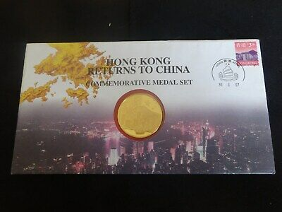 1997 Silver Proof Gold Plated Coin Medal Cover Return Hong Kong To China