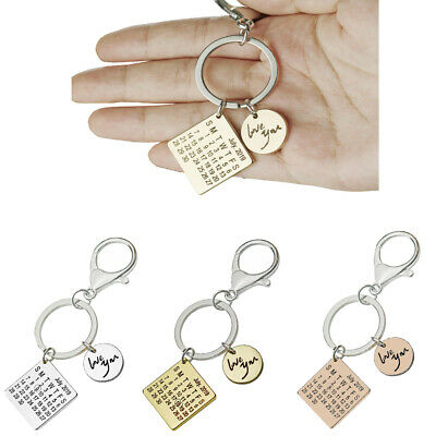 Personalized Calendar Key Chain Special Date Keychain Anniversary Gift