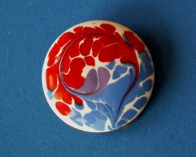 Vintage  Enamel on Copper SCARF CLIP - SIGNED INGA - RED/BLUE/WHITE COLORS
