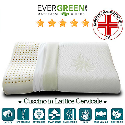 Cuscino Lattice Cervicale tessuto Aloe Vera Ergonomico Ortopedico Evergreenweb