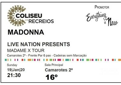 Madonna Madame X Tour Ticket Lisbon 2020/01/19 Cabin 16