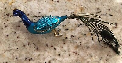 Vintage Glass Clip On Peacock Bird Christmas Tree Ornament made in Germany