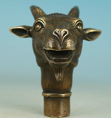 Asian Chinese Old Bronze Handmade Carved Sheep Collect Statue Walking Stick Head