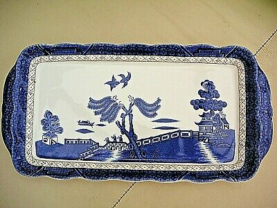 Vintage Royal Doulton Booths Real Old Willow blue Sandwich Tray Plate RARE