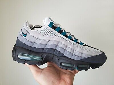 buy popular 5c814 d7239 2008 NIKE AIR MAX 95 WHITE GREY FRESH WATER TEAL BLUE SZ 9 QS limited retro