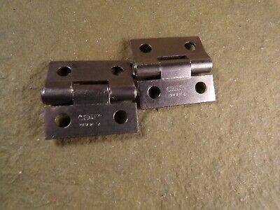 """1 Pair Stanley Sweetheart Box Chest 1"""" Hinges Small Vintage Hinge Hardware"""