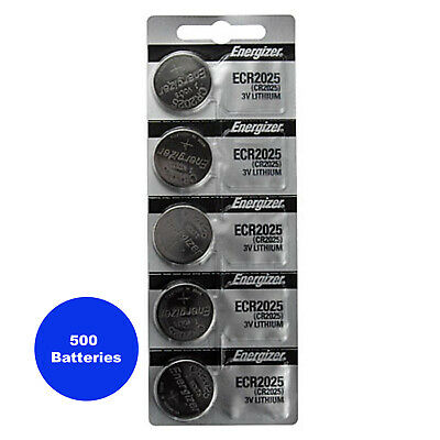 500 Pcs Energizer ECR2025 CR2025 2025 Lithium Coin Cell Watch Battery