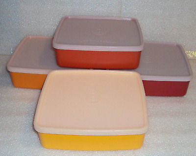 Tupperware Large Square Aways Sandwich Keepers Set of 4 Harvest Orange Red + New
