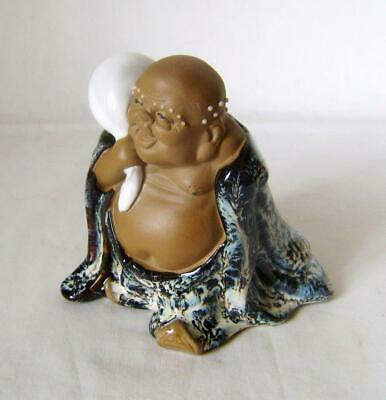 Vintage Chinese Ceramic Figure: Laughing Buddha: Hotei with Sack: 11 cm high