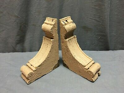Pair Antique Wood Corbels Shabby Cottage Chic Vintage Shelf Brackets 75-19J