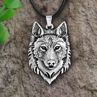 TibetanSilver Wolf Head Pendant Necklace Amulet Animals Viking Men Gifts Jewelry