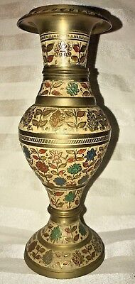 """Antique  Cloisonne Styled Thick Brass Champleve Floral Vase  (8.3"""")"""