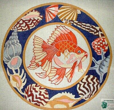 MZC Oriental Goldfish Seashells HP Hand Painted Needlepoint Canvas
