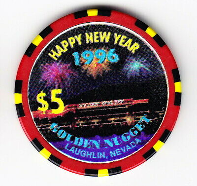 1996 'Happy New Year' Golden Nugget Hotel & Casino Laughlin NV $5 Casino Chip