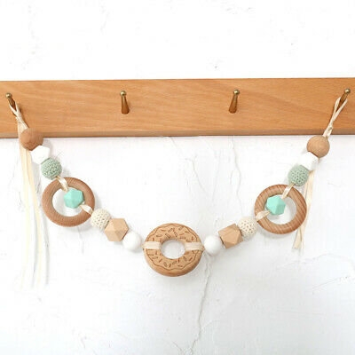 Donut Crochet Wood Beads Ring Silicone Teether Pram Garland Chain Teething Toys