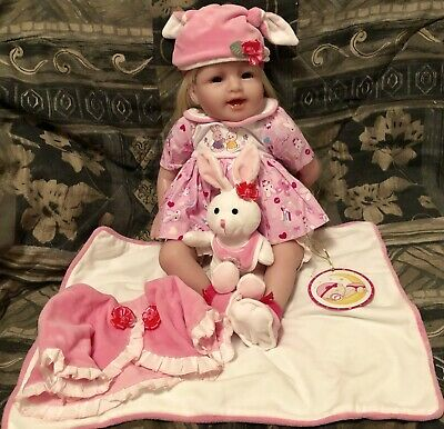 """Sweet Collection Pink Lifelike Reborn Toddler Baby Doll 22"""" + Bunny Outfit Hat"""