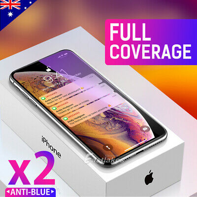 2 X iPhone XS Max XR X Full Coverage Tempered Glass Screen Protector for Apple
