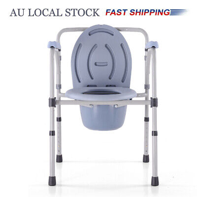 Foldable Adjustable Shower Toilet Bathroom Bedside Commode Chair Camping Travel