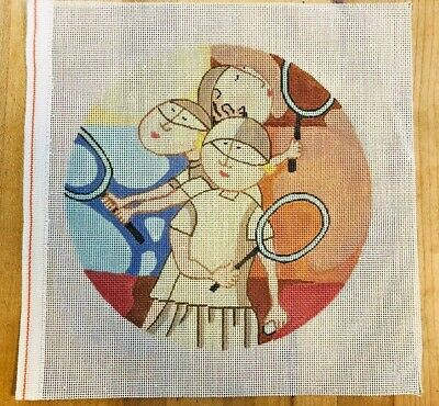 Needlepoint Canvas Abstract 3 Tennis Players Unbranded Hand Painted