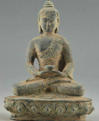 antique excellent old bronze carved statue Auspicious Handwork Carving Buddha