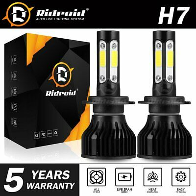 Pair 4-sides H7 CREE LED Headlight Kit 2000W 6000K 300000LM Replacement Bulbs JO
