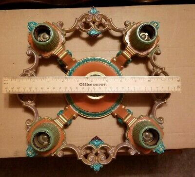 Vintage Antique Art Deco Ceiling Light Fixture Riddle 4-Bulb Original Sockets