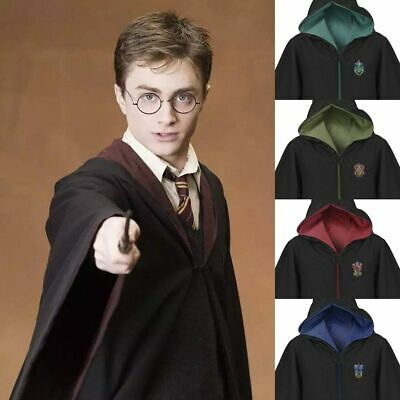 Harry Potter Gryffindor Slytherin Hufflepuff Cloak Robe Capa Cosplay Traje