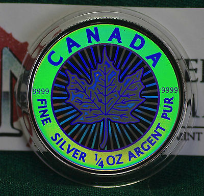 2003 CANADA $3 Hologram Silver Maple Leaf 1/4 oz Reverse proof 99.99% silver