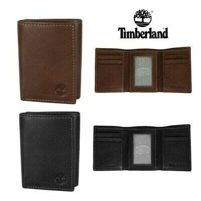 Timberland Men's Natural Grain Leather Trifold Wallet