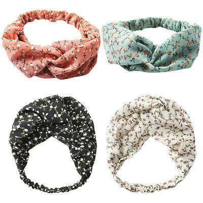 Women Girl Vintage Yoga Elastic Floral Hair Band Headband Turban Twisted Knotted