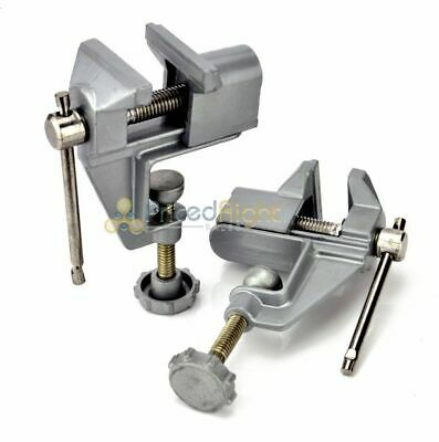 Two Pack Mini Cast Aluminum Table Bench Swivel Lock Clamp Vise Craft Hobby Vice