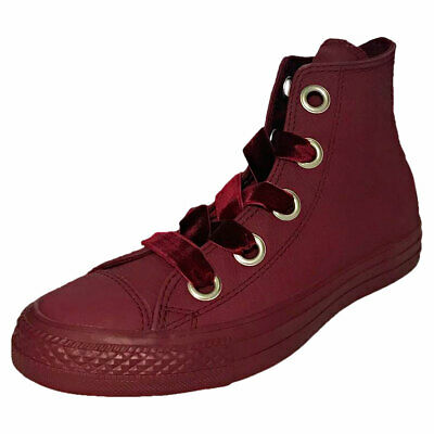WOMENS CONVERSE BURGUNDY Leather Zip Knee High Boots Size UK