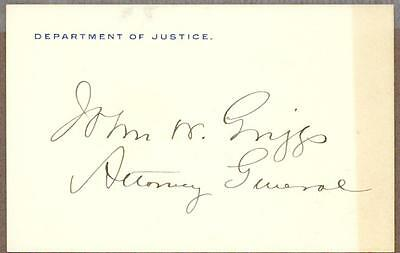 John W. Griggs, US Attorney General, Governor of New Jersey, Signed Card, COA
